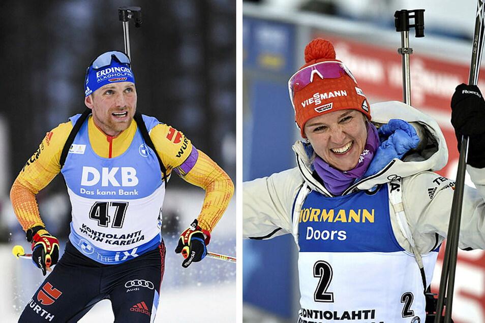 Biathlet Erik Lesser hat es beim Weltcup-Auftakt in Finnland auf das Podium geschafft. Ganz knapp nicht gewonnen hat Denise Herrmann (r).