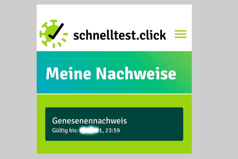 In der App schnelltest.click können Genesene ihren Nachweis speichern.