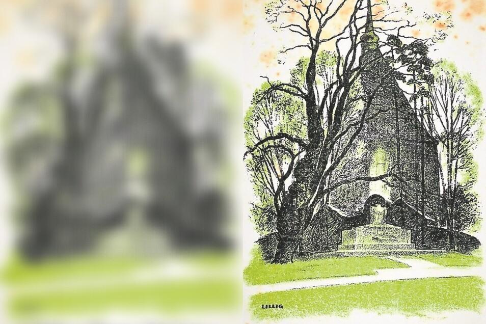 Mit dieser Karte erinnerte der Zittauer Kunstmaler Hans Lillig (1894-1977) an die Einweihung des Denkmals unweit der Baugewerkeschule, im Hintergrund die Kirche zum Heiligen Kreuz.