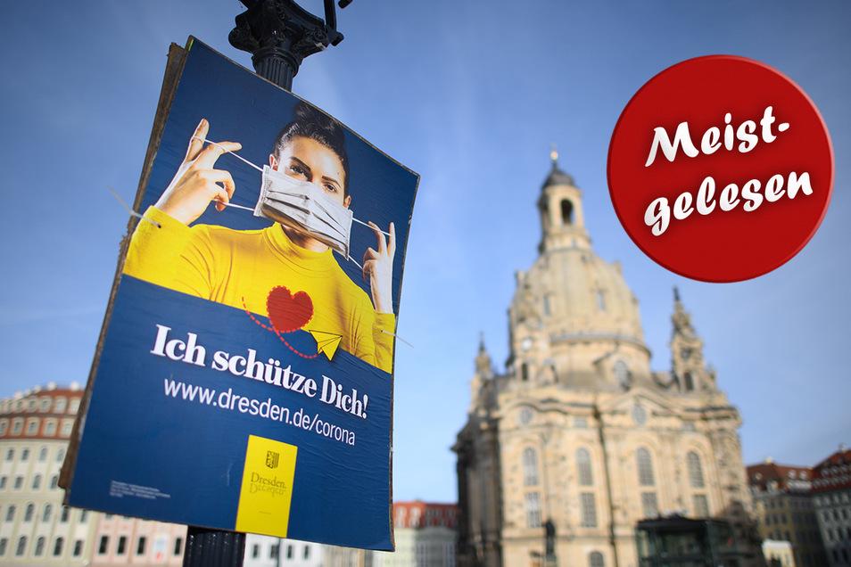 Achtung, Maske auf! Seit Mittwoch gelten in Dresden noch einmal verschärfte Corona-Regeln.