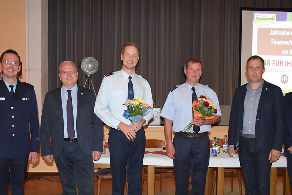 Stefan Kockrick und Heiko Karger (beide Mitte) wurden geehrt und hier fürs Foto flankiert von Stefan Hentschke, Torsten Ruban-Zeh und Mirko Pink.