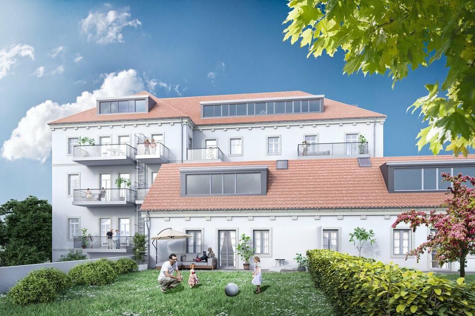 Tischerplatz 13: Blick von der Hofseite auf das Gebäude-Ensemble.