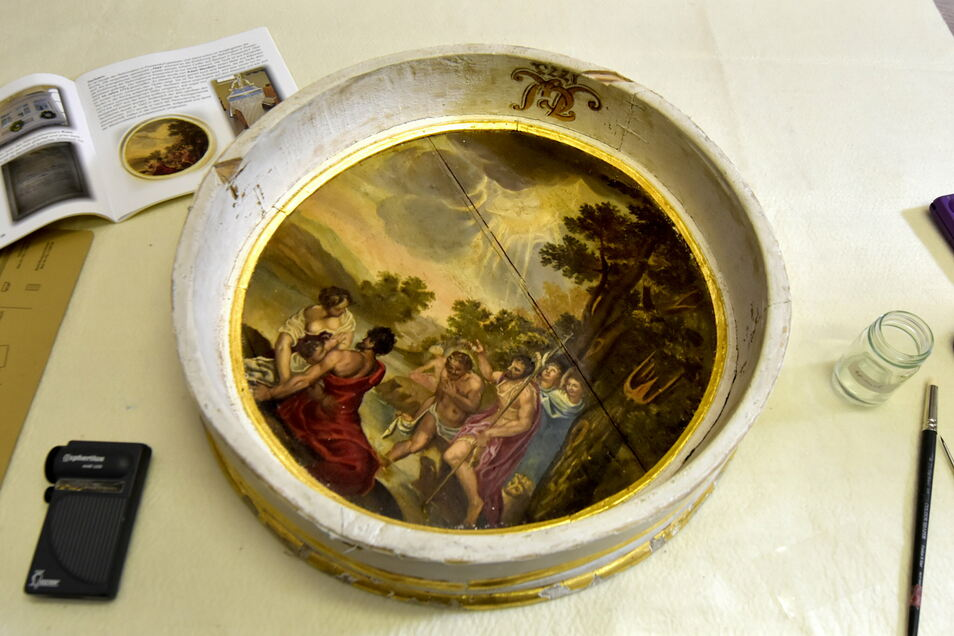 Das rund 400 Jahre alte Gemälde aus Possendorf wird derzeit restauriert. Offenbar wurde es nie übermalt.