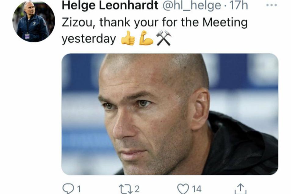 """Helge Leonhardt hatte am Freitag auf Twitter ein Bild von Zinédine Zidane hochgeladen, mit folgendem Text: """"Zizou, thnank your for the Meeting yesterday."""" Mittlerweile hat er diesen Tweet wieder gelöscht."""