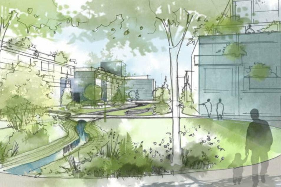 So könnte eine Umgestaltung in eine Parkanlage aussehen. Der Kaitzbach fließt mitten durch das Wohngebiet.