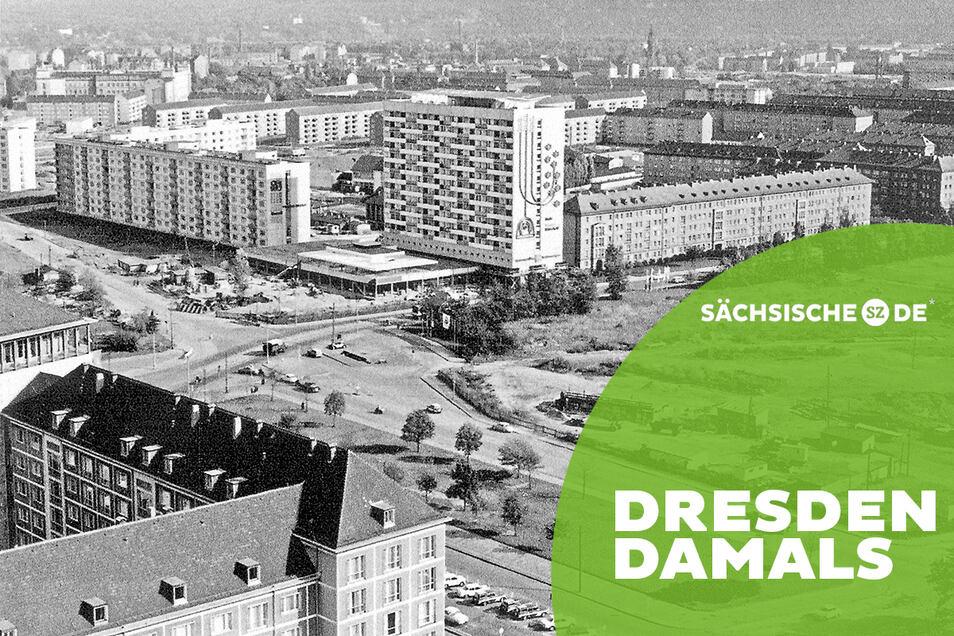 Der Pirnaische Platz 1967. Dresdens höchstes Wohnhaus ist fertiggestellt. Die Nord-Süd-Verbindung über den Platz ist noch im Bau.