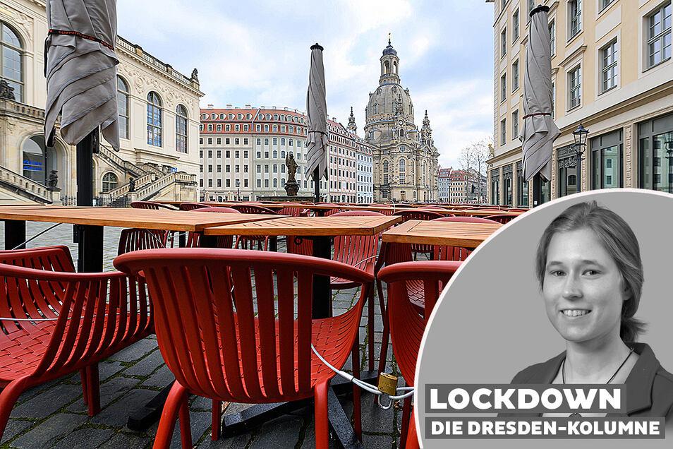 Tische und Stühle vor einem Restaurant auf dem Dresdner Neumarkt. Unsere Autorin fragt: Was lernen wir aus all der Leere?