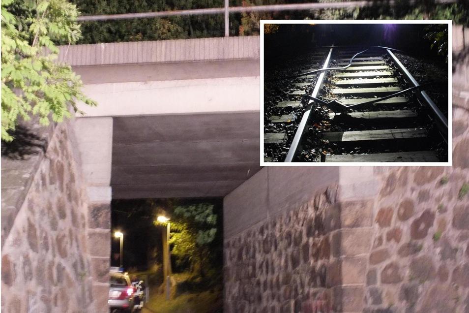 """Die Bahnbrücke """"Zur Bleiche"""" in Herrnhut war das Ziel von Kabeldieben."""