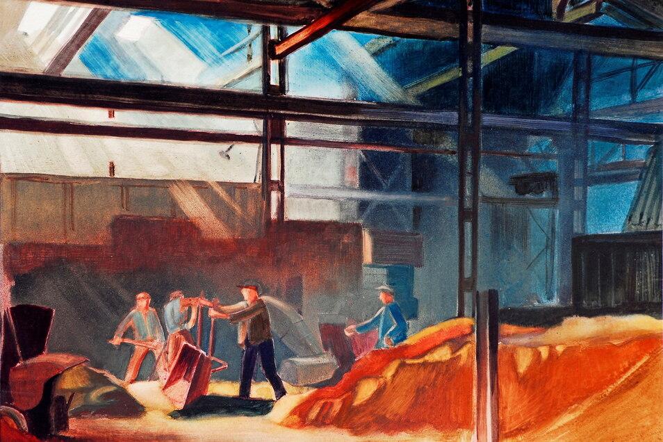 """1949 malte Gottfried Bammes das Bild """"Formsandecke"""" mit Aquarell- und Gouachefarben. Es ist in Besitz der Städtischen Sammlungen Freital."""