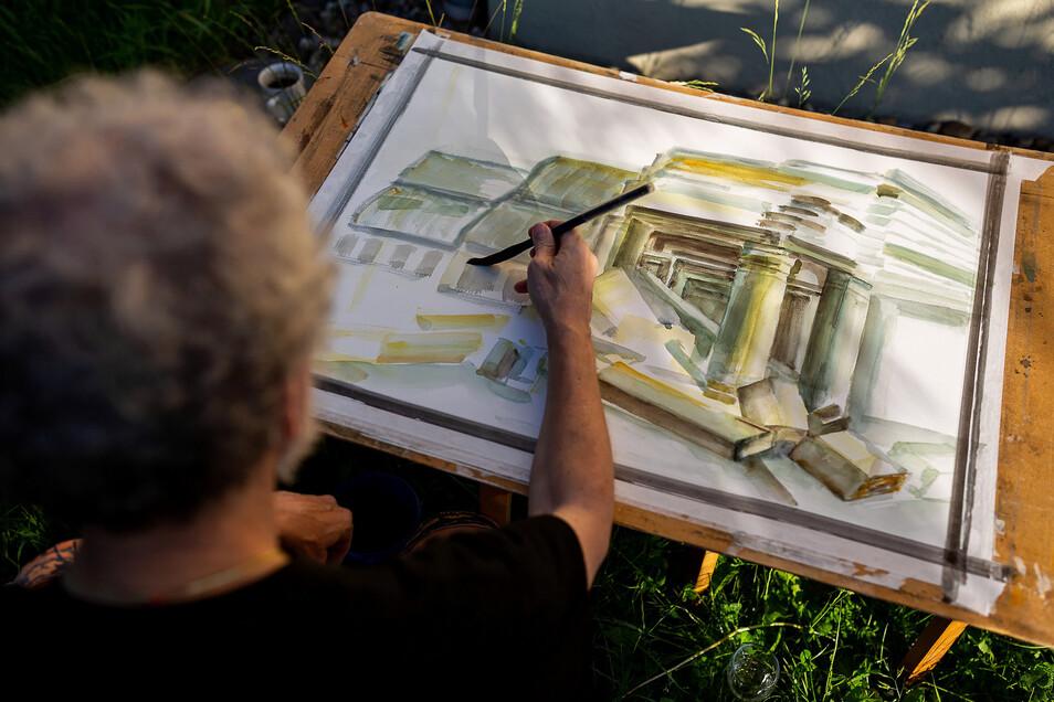 ImZeichenzirkel des Kunstvereins Freital kann jeder malen was und wie er will.
