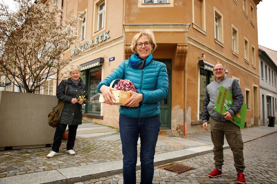 Sieglinde Tschentscher, Angelika Peters und Thomas Schöne (v.l.) von der Initiative der Gartenfreunde Kamenz und Umgebung haben die Schaufenster vom leerstehenden Winzereck frisch dekoriert. Die Stadt will jetzt für die Belebung des Gebäudes sorgen.