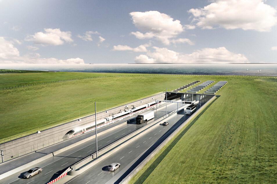 Eine Visualisierung des geplanten Fehmarnbelt-Tunnels zwischen Deutschland und Dänemark mit dem Tunneleingang aus dänischer Sicht.