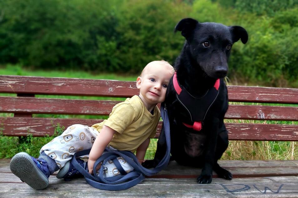 Ein Herz und eine Seele: Maxim (1,5 Jahre) mit seiner Hündin Mina.