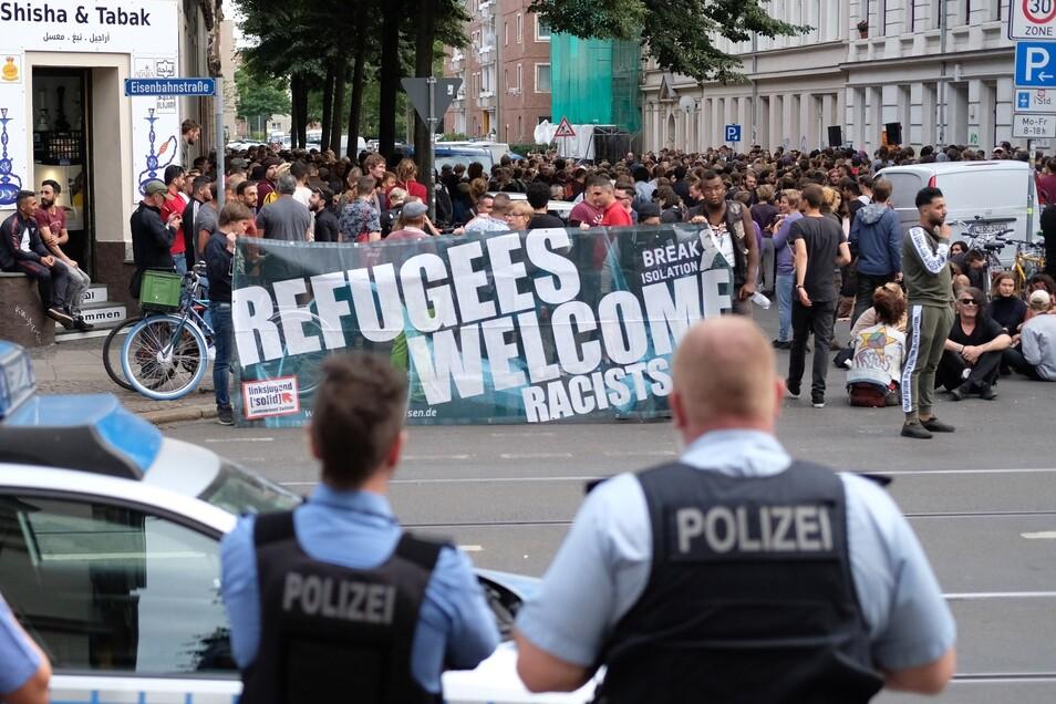 Protest gegen Abschiebungen in Leipzig.