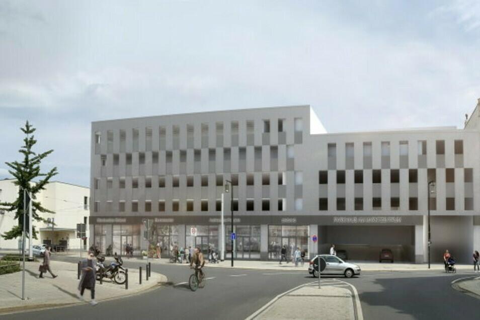 So soll der Neubau am Postplatz aussehen, für den die beiden Stadtvillen weichen sollen.
