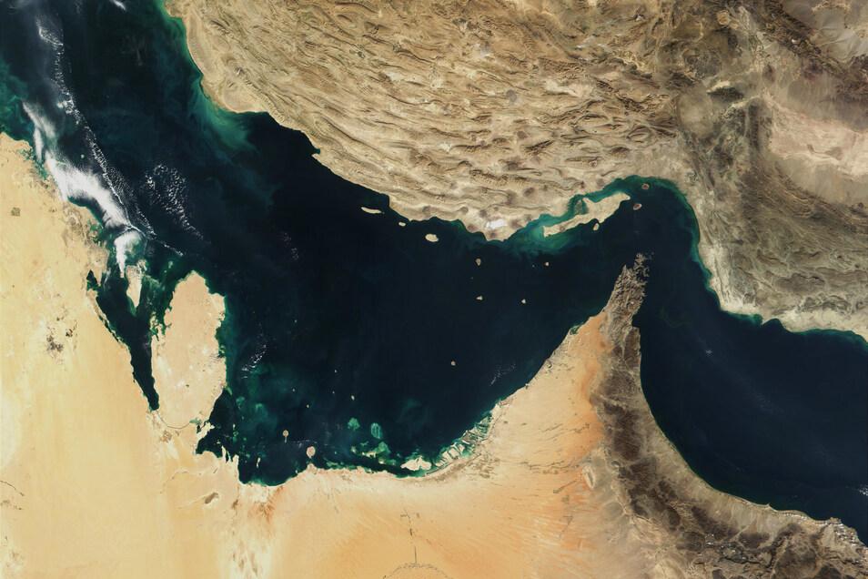 Diese Satellitenaufnahme zeigt den Persischen Golf, die Straße von Hormus und den Golf von Oman.