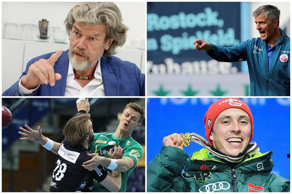 Der Sport-Mittwoch und seine Hauptdarsteller. Berg-Ikone Reinhold Messner, Hansa Rostock (mit Trainer Jens Härtel), Handballer Niclas Pieczkowski und Kombinierer Eric Frenzel.