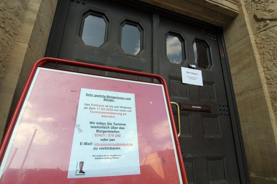 Döbelns Rathaus bleibt derzeit weitgehend geschlossen.