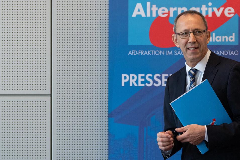 Sachsens AfD-Vorsitzender Jörg Urban und seine Partei stehen ab sofort im Fokus des Verfassungsschutzes.