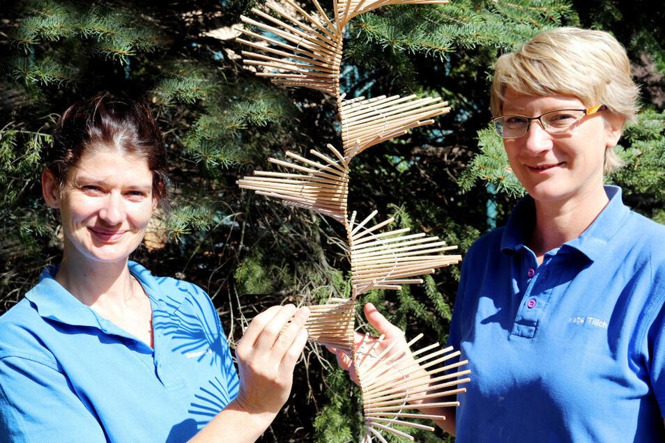 So wie alle Hoy-Reha-Therapeutinnen und -Therapeuten sind Susanne Gröllich (links) und Katja Tillich fit in Sachen Spiraldynamik.