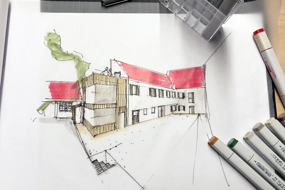 Die Bauherren haben eine ganze Reihe Skizzen angefertigt. Diese zeigt den Hinterhof mit Blick auf die Baderei.