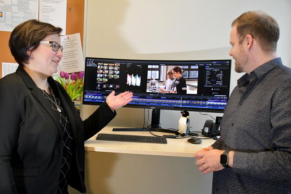 Schulleiterin Beatrice Wünsche und ihr Stellvertreter Richard Grunwald haben einen Imagefilm gedreht, um die 36. Oberschule vorzustellen. Ab Montag zeigt er auf der Homepage, was die Schule zu bieten hat.