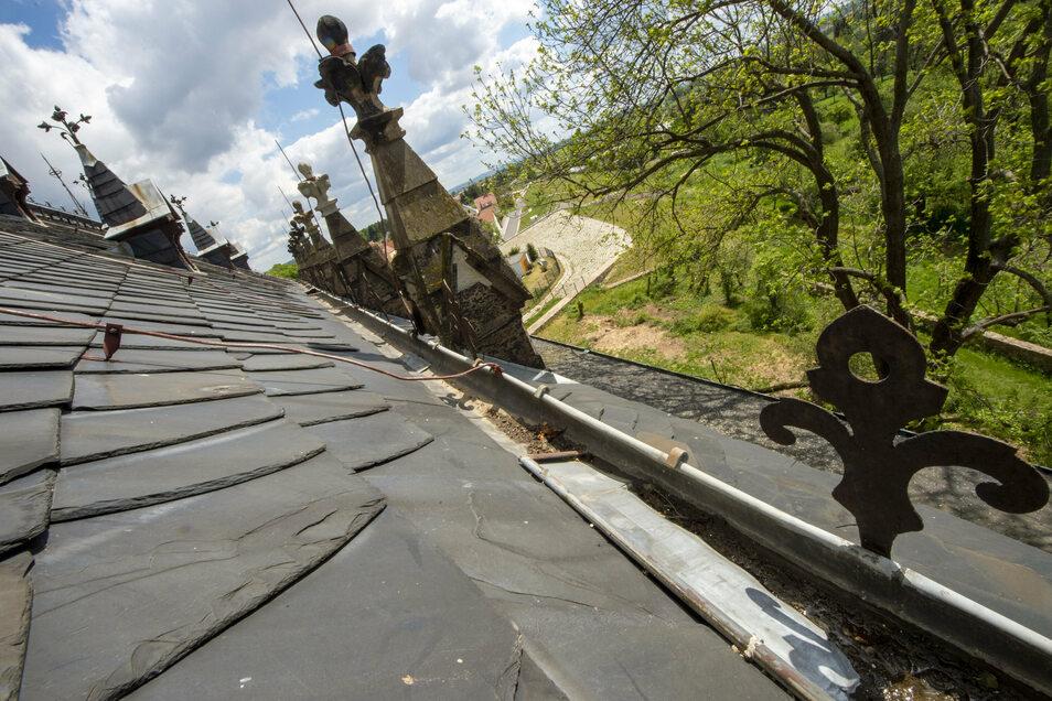Blick aus der Dachluke der Friedenskirche. Das steile Dach sieht eigentlich noch ordentlich aus. Richtig problematisch ist das von unten nicht einsehbare Seitendach. Dort sind nur alte Pappschindeln drauf.
