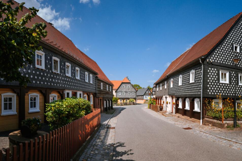 Typische Lausitzer Umgebindehäuser in Obercunnersdorf