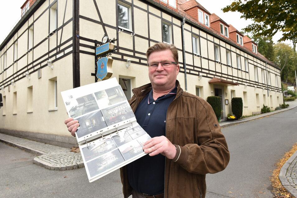 Olaf Schwalbe steht hier vor seinem Hotelgasthof Erbgericht in Höckendorf. Die momentane Krise macht ihn ratlos.