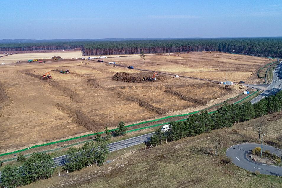 Luftaufnahme: Baumaschinen arbeiten auf dem Gelände der künftigen Tesla-Fabrik in Grünheide.