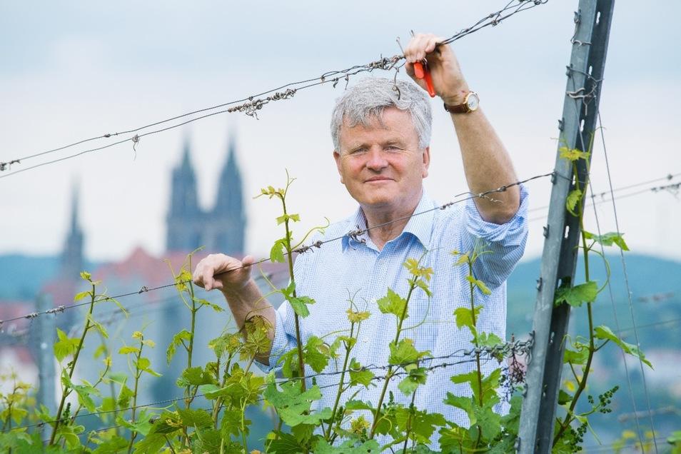 Georg Prinz zur Lippe,  Sachsens größter Privatwinzer, präsentiert sein Unternehmen auf der Mainzer Weinbörse.