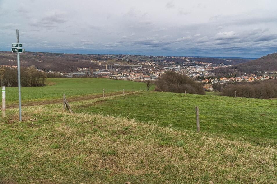 Auf der Höhe zwischen Freital und Obernaundorf soll die Bank der Pfannenschmidts stehen. Hier führt der mit einem grünen Strich markierte Wanderweg vorbei.