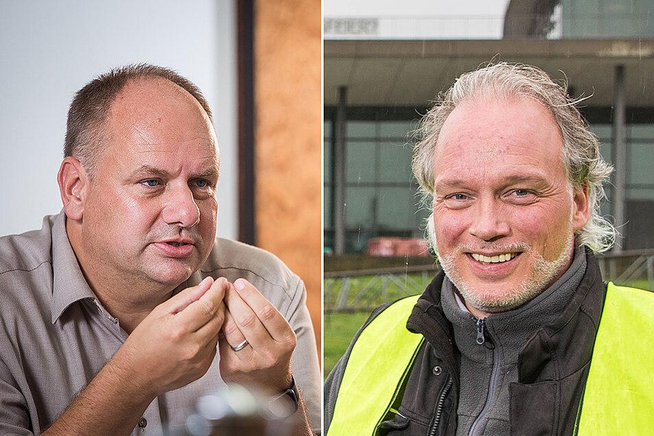 André Sarrasani (rechts) hat mit seiner Zelt-Aktion sogar Oberbürgermeister Dirk Hilbert (FDP) gegen sich aufgebracht.