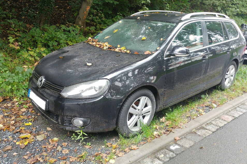 Dieser Wagen steht seit einem Jahr am Elbufer in Pirna.