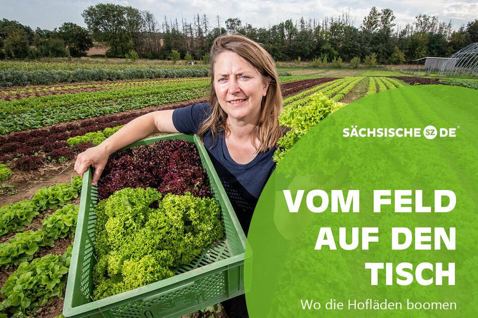 Katrin Leipacher betreibt mit ihrem Mann Oliver die Biogärtnerei Auenhof in Niederlützschera bei Ostrau.