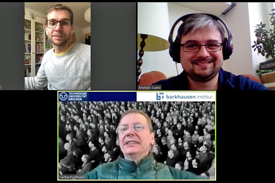 Fabian Deicke (links oben) und Andreas Szabo (rechts oben) sprechen mit TU-Professor Gerhard Fettweis über Handytracking in Zeiten von Corona.
