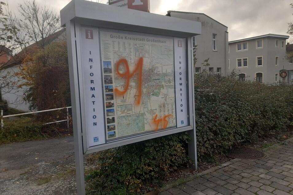 """Schriftzüge mit der ominösen """"91"""" tauchten im Herbst des vergangenen Jahres an vielen Plätzen in Großenhain auf."""