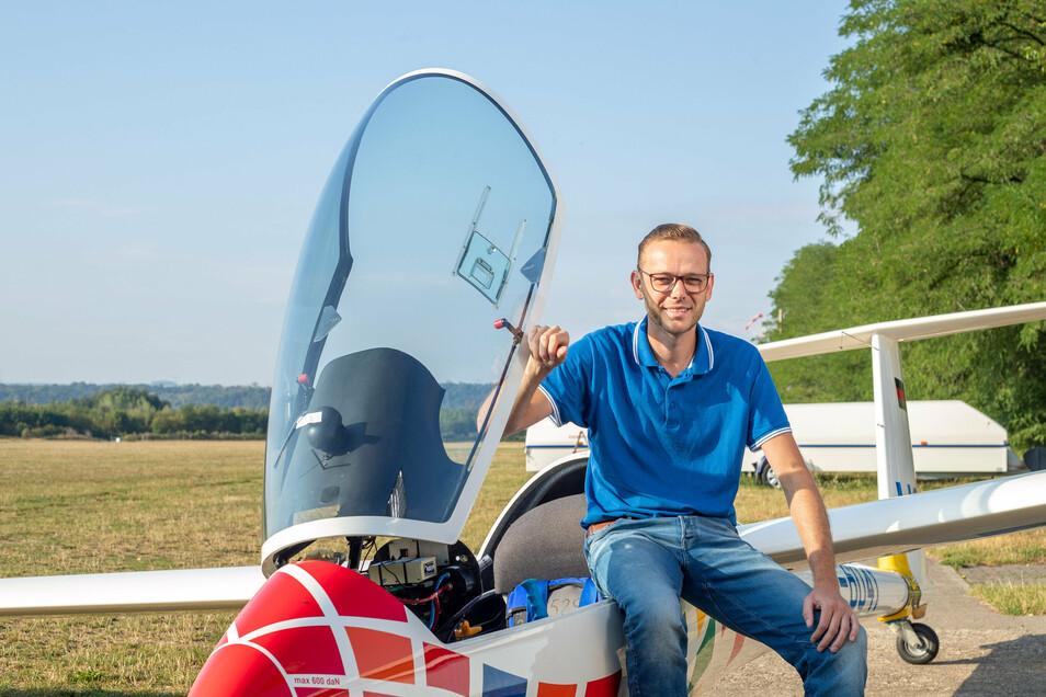 Immanuel Weigel gehört zum Verein Aeroclub Pirna und ist leidenschaftlicher Segelflieger.