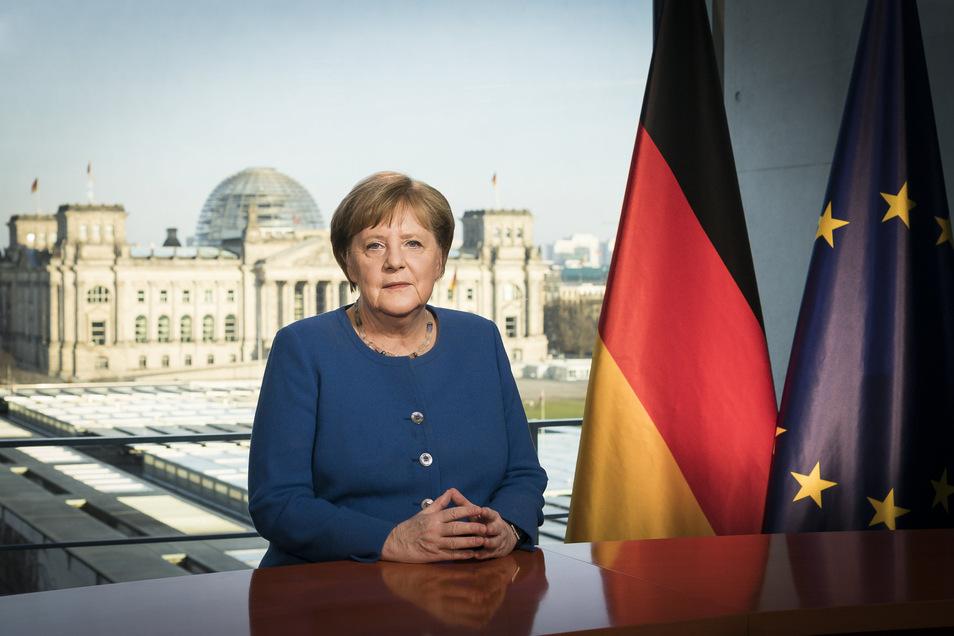 Bundeskanzlerin Angela Merkel während ihrer Fernsehansprache in der Corona-Krise.