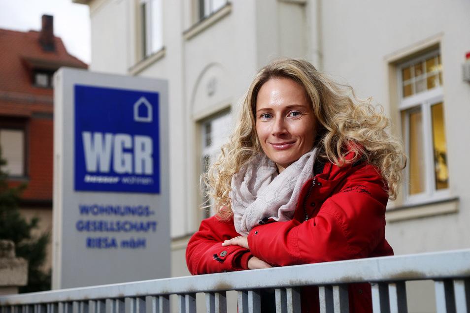 Das Gesicht des Riesaer Großvermieters WGR: Sprecherin Susan Eisenreich