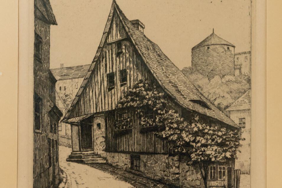 So hat der Bautzener Maler Georg Heine das Hexenhäusel zu Papier gebracht. Er wurdedarin geboren.