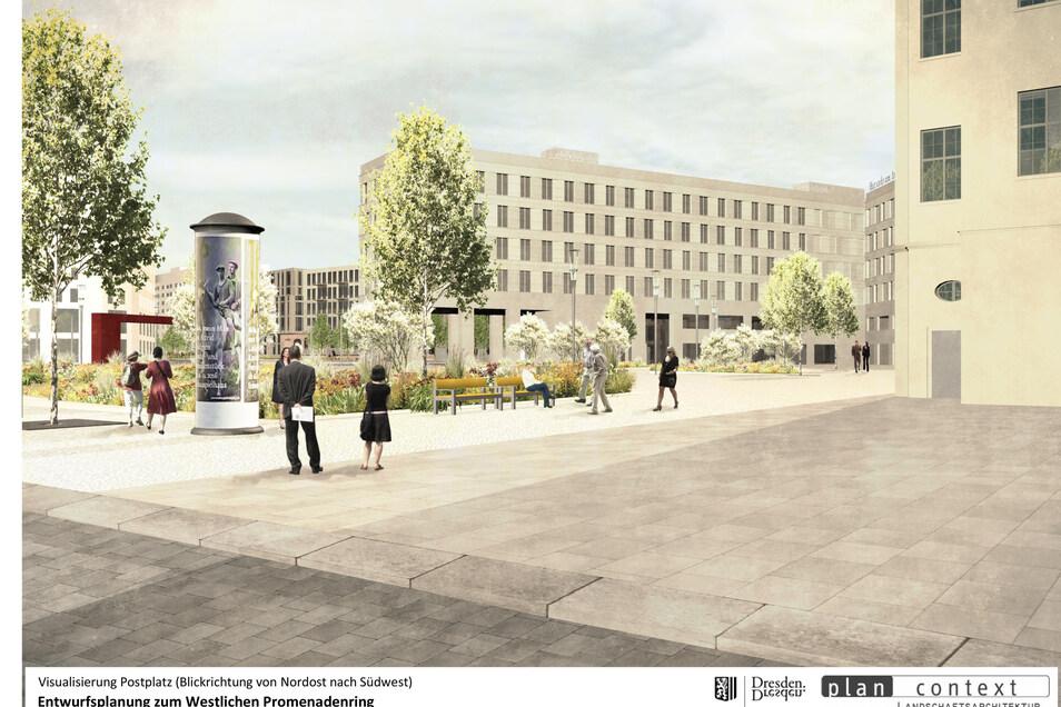 So soll der nächste Abschnitt des Promenadenrings vor dem Schauspielhaus künftig aussehen.