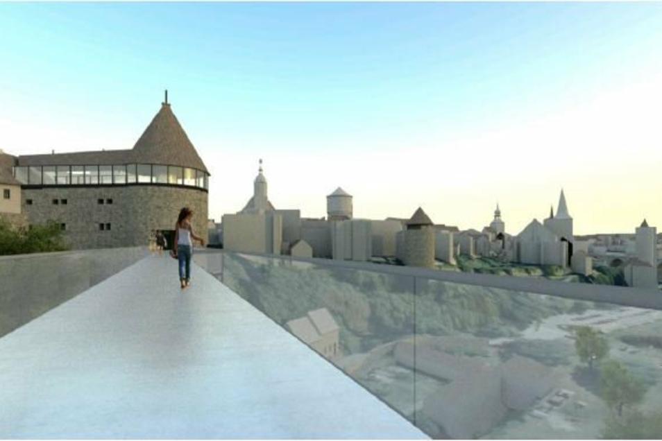 So könnte es oben auf der Fachwerkbrücke aussehen. Auf dem Modell führt der Weg in den Burgwasserturm. Favorit der Stadt ist aber das Modell, bei dem die Fachwerkbrücke im benachbarten Langhaus ankommt.