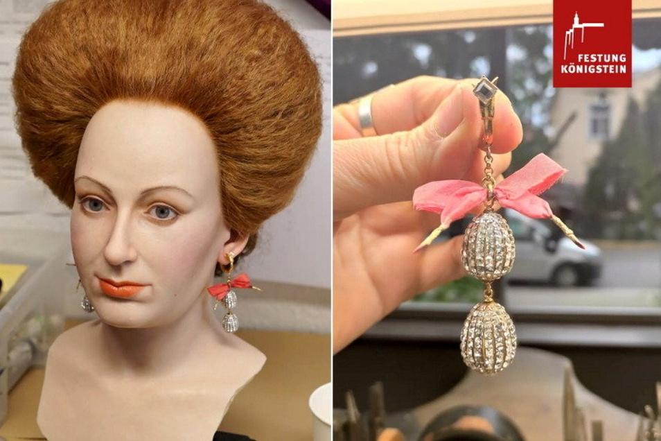 Schmuck für die Gemahlin des Kurfürsten: Magdalena Sibylla trug vor 400 Jahren Ohrringe wie diese, die die Dresdner Schmuckgestalterin Brit Kolleß kreiert hat.