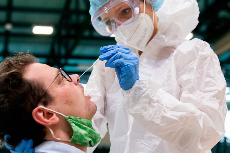Bei einem Schnelltest werden Abstriche in Nasen- und Rachenraum gemacht.
