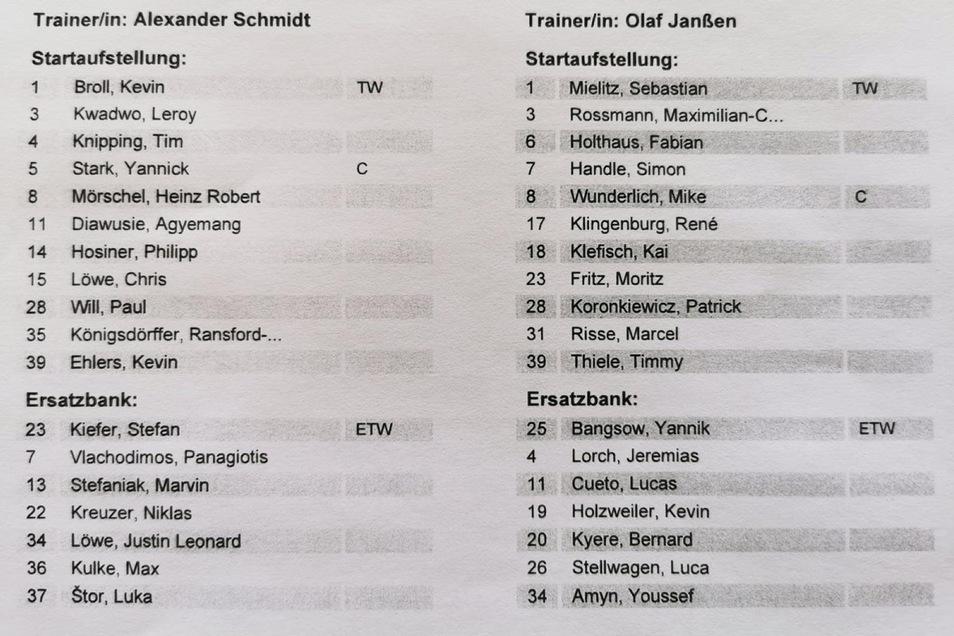 Alexander Schmidt muss den gelbgesperrten Christopf Daferner ersetzen. Für ihn spielt Heinz Mörschel. Außerdem rutscht Ransford-Yeboah Königsdörffer für Panagiotis Vlachodimos in die Startelf.
