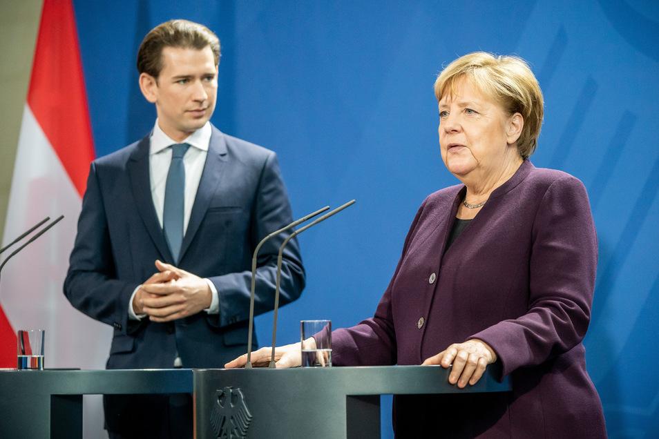 Österreichs Kanzler Sebastian Kurz traf in Berlin auf Kanzlerin Angela Merkel.