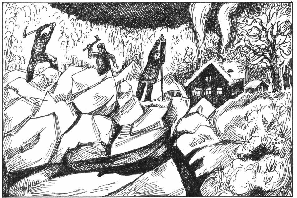 Von Müllern und Anwohnern gefürchtet: Eisgang auf der Weißeritz. Die oftmals hohen Eisgebilde führten an Mühlen, Brücken und Uferbefestigungen zu schweren Schäden. Mit Handwerksgerät versuchte man in verflossenen Jahrhunderten, krassen Auswirkunge