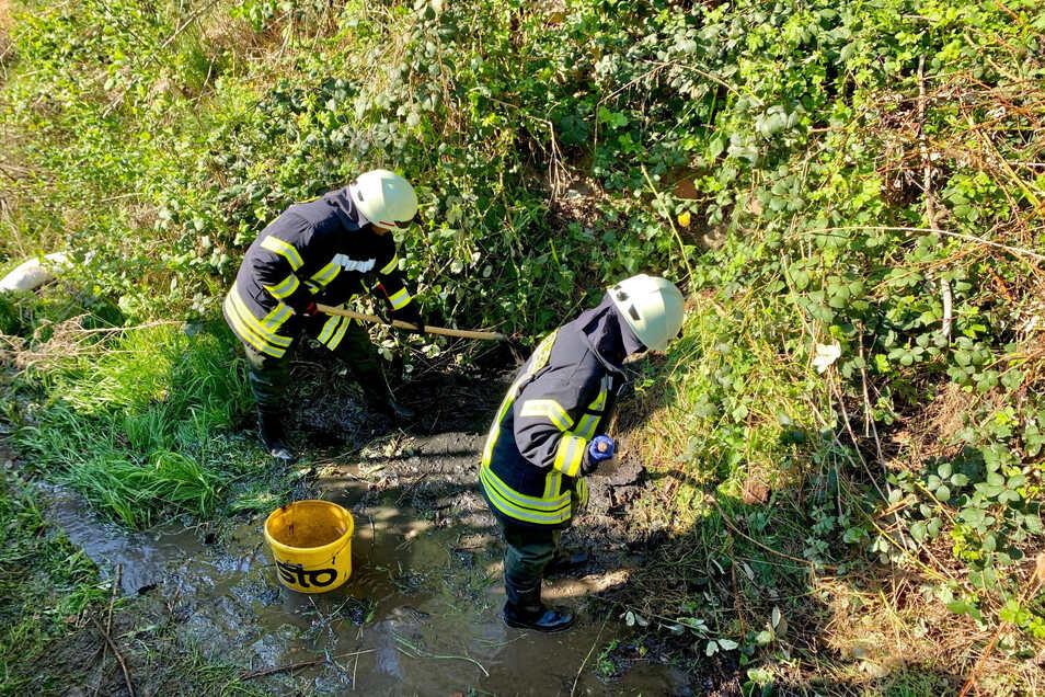 Feuerwehrleute standen mehrere Stunden im Langenhennersdorfer Bach, um das Öl und den Diesel zu entfernen.