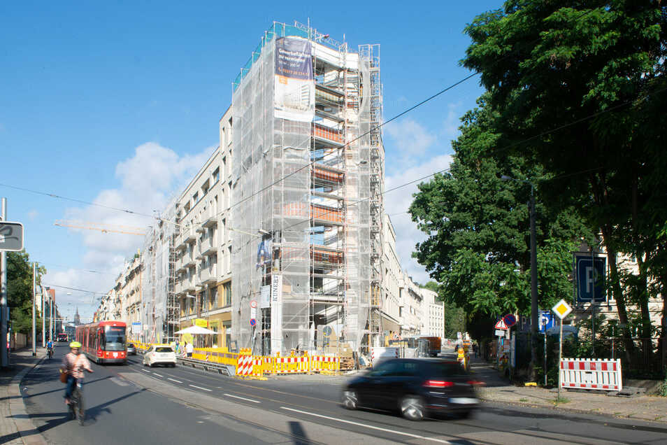 Der Neubau an der Bautzner Straße, Ecke Prießnitzstraße soll bald fertiggestellt werden.